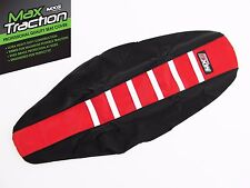 HONDA CRF450 CRF450R 2017 RIBBED SEAT COVER BLACK + RED + WHITE STRIPES RIBS