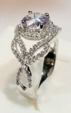 Engagement Ring White Gold Sterling Round Brilliant cut Diamond Infinity Promise