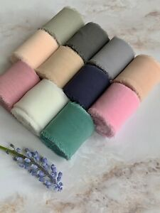 Handmade Silk Chiffon Frayed Sheer Ribbon Wedding Bouquets 40mm wide - 1 metre