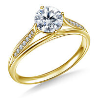 0.80 Ct VVS1 Round Diamond Engagement Ring 18K Solid Yellow Gold Rings Size L