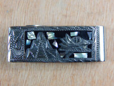 Inlaid Mayan Design Marked Mexican Money Clip Onyx Abalone