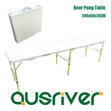240cm Beer Pong Table Outdoor Aluminum Folding Table Party Drinking Game White