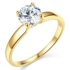 1cts Round Brilliant cut Solitaire Engagement Ring Real 14k Solid Yellow Gold