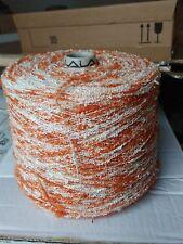 fil a tricoter Chenille Fantaisie 1Kg250 Rouille-Blanc