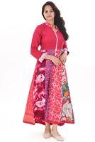 Indian Women's Wear 100% Cotton Long Dress Geometric Print Red Color Plus Size