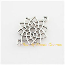 15 New Connectors Flower Lotus Tibetan Silver Tone Charms 14x20mm