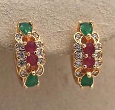18K Gold Filled Earrings Ruby Zircon Emerald Flower Topaz Ear Hoop Wedding Lady