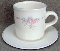 "Pfaltzgraff TROUSSEAU Flat Cup & Saucer Set 3 1/4""  Mint"