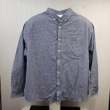 Men's Basic Editions button front shirt long sleeve 4X blue black plaid