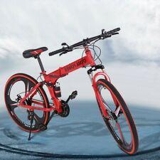 26in Folding Mountain Bike Shimanos 21 Speed Bicycle Full Suspension MTB Bike US