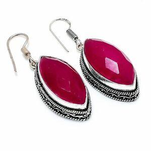 """Kashmir Red Ruby Gemstone Gift 925 Sterling Silver Jewelry Earring 1.97 """" U801"""