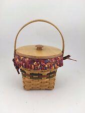 "Longaberger 1996 Shades of Autumn Maple Leaf Basket Combo w Lid 7"" Measuring"