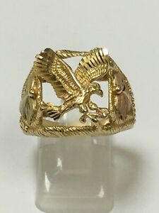 Large Gents 9 Carat Yellow Gold EAGLE RING