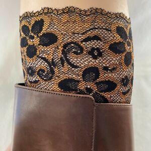 Lace Boot Cuffs Topper Set of 3 Metallic Green - Copper - Pink Mauve