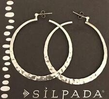 """Silpada P1287 Sterling Silver 2"""" HAMMERED Hoop Earrings"""