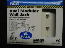 NEW IN BOX 6 PACK RCA DUAL MODULAR WALL PLATE WHITE PHONE JACK RJ11 WHITE