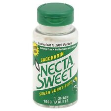Necta Sweet Saccharin Tablets, Sugar Substitute, 1-Grain, 1000 Tablet Bottle