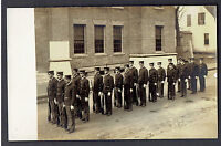 Military Real Photo RPPC ~ Soldiers At Attention In Parade Formation Hold Rifles