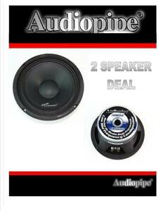 """1 Pair 8"""" 500W Full Range Loud Speakers Low Mid Range Audiopipe APMB-8-B"""