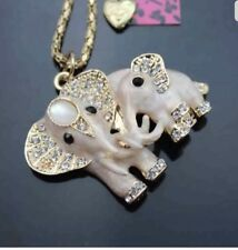 Betsey Johnson Necklace White Pearly Crystal Elephants Baby And Momma  Beautiful