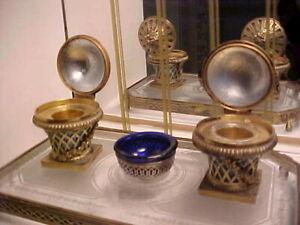 Rare Art Deco Nouveau Ornate Ink Well Desk Set w Etched Glass & Gold Filigree