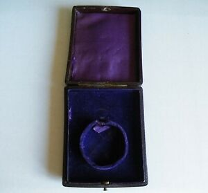 A VICTORIAN VINTAGE ANTIQUE BLACK LEATHER FOB WATCH  BOX