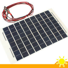 Solar Panel 12V 10W PolyCrystalline Transparent Epoxy + 2 Battery Clips 4m Cable