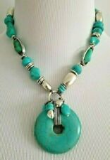 CHICO'S SHORT TURQUOISE STONE PENDANT NECKLACE