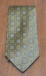 JOS. A. BANK Green Blue Patterned Square Print 100% Silk Tie Made in Italy