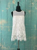 CREMIEUX Women's White Floral Lace Sleeveless Top Blouse NWT Size XS Retails $89
