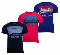 Superdry Mens Vintage Logo Short Sleeve Crew Neck Print T-Shirt Navy Blue Pink