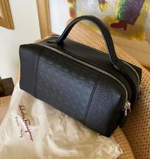 Salvatore Ferragamo Black Signature Double Zip Leather Toiletry Bag Dopp Kit