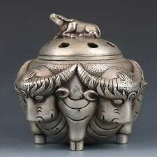SUPERB CHINESE TIBETAN SILVER HAND-CARVED CATTLE INCENSE BURNER