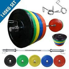 IWF Olympic Bumper Weight Plate Set 140kg │ 7FT Barbell Chrome Collar by BodyRip