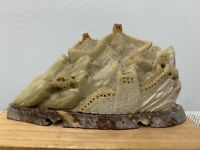 Antique Chinese Signed Soapstone Carving Great Wall of China Statue Figurine