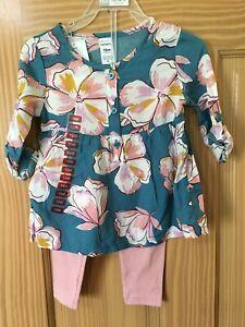 NWT Carter's Toddler Girls 2pc Set Floral Shirt Top Pink Leggings