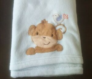 Bedtime Originals Monkey Baby Blanket Blue Bird Lambs & Ivy Plush Security Lovey