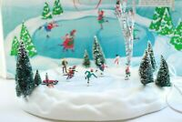 Dept 56 Animated Skating Rink Pond Christmas Snow Village + Lemax Villagers! EUC