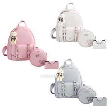 3Pcs Women Girl Backpack Travel Leather Handbag Rucksack Shoulder School Bag