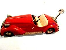Vintage Distler Key Wind Tin Car made in US Zone Germany Red 9 1/2""
