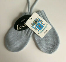 Portolano Baby Blue Mittens 100% Cashmere Attached String Never Lose 6-9 Months