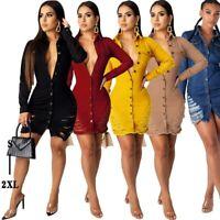 Women's Sexy Tight Slim Dresses Lady Bodycon Nightclub Ball Gown Party Dress