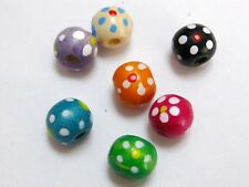 100 Mixed Color Flower Patterned Round Wood Beads~Wooden 10mm