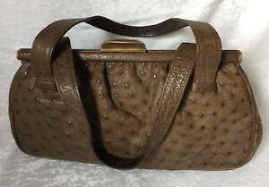 Handtasche Echtes Straußenleder Braun Damen Schultertasche Bag Borsa Vintage