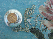 VINTAGE Catholic Tiny Pearly Glass Rosary in Metal Case with Virgin Mary picture