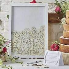 Boho Wedding Day Drop Top Wooden Frame Alternative Guest Book 70 Hearts Inc