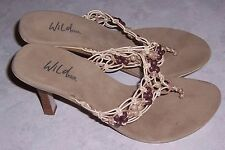 "WILD PAIR Open Toe Thong Sandals 3.5"" High Heels Womens Shoes Size 7M EUC"