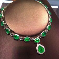 18.6Ct TW Oval Pear Zambian Emerald Diamond Necklace 14k white Gold Finish $8000