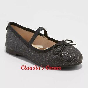 NWT Toddler Girls' Black Glitter Slip-On Ballet Flats - Cat & Jack