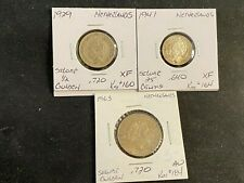 NETHERLANDS 1929 TO 1963 SILVER .640 .720  3 COIN CENTS GULDEN  XF / AU LOT M46